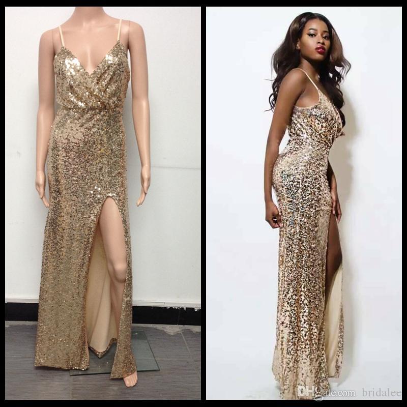Instock 2016 vestido de baile de lentejuelas de oro sexy vestido de noche de Split Maxi vestidos de fiesta vestidos de cóctel formales longitud del piso