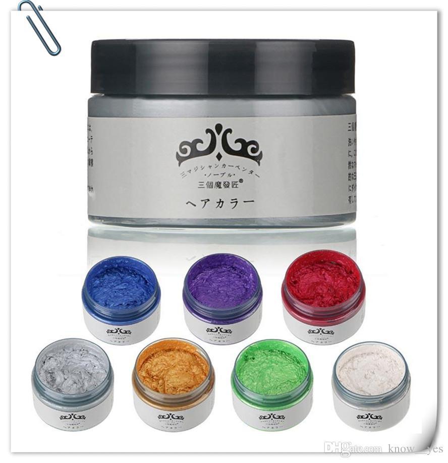 Unisex Diy Hair Color Wax Mud Dye Cream Temporary Modeling Redwhite