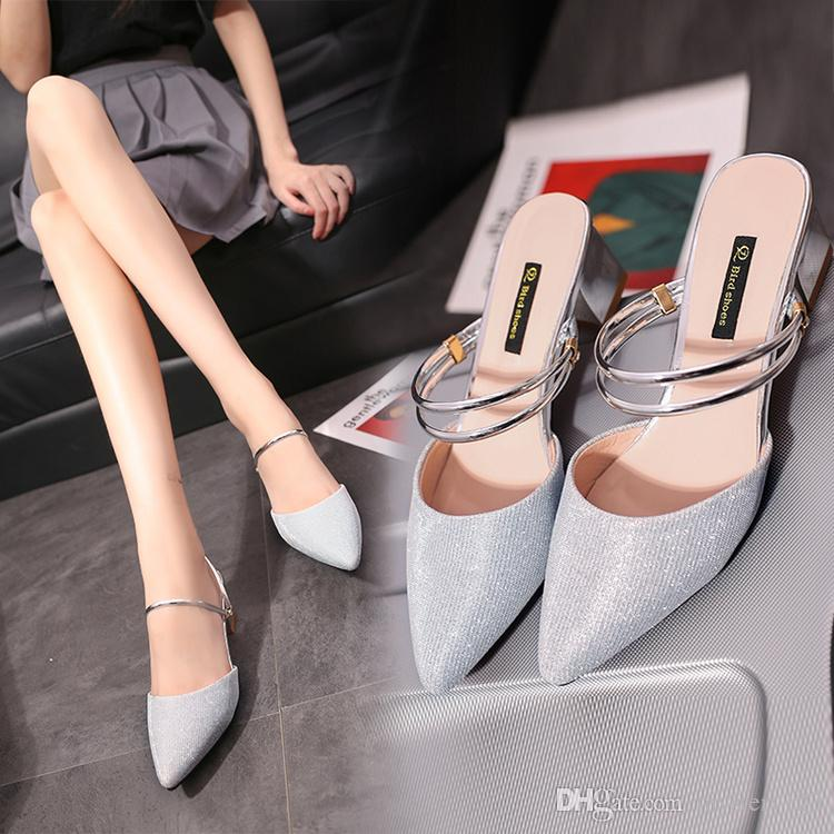 4172e47966e summer kitten heel shoes women pointed toe sandals women patent gold silver  pumps high heels sandals valentine shoes