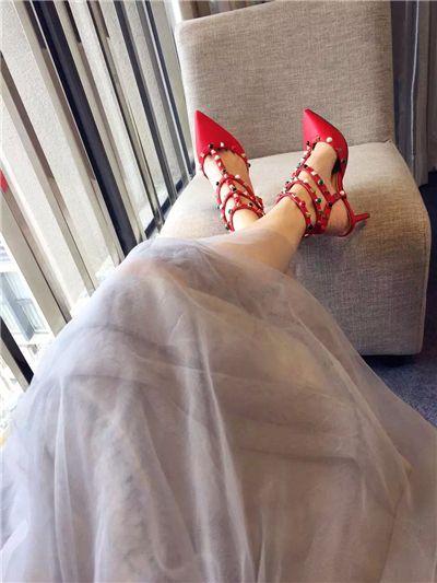 b114 genuine leather 40/41/42 nude black red green burgundy brown gem pointy strap heels 7cm sandals shoes fashion luxury designer v