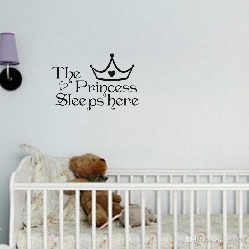 The Princess Sleep Here Wall Stickers For Kids Room Wall Decals Home Decor Wall Art Quote Bedroom Wallpaper