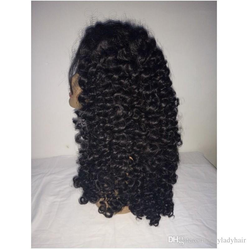 Stock parte lateral negra larga rizado rizado rizado rizado pelucas del enrollamiento frente del cordón sintético resistente al calor para las mujeres negras