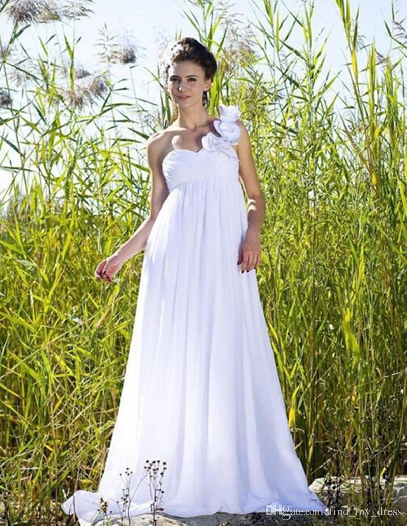 Sommer Elegante Empire Brautkleider für Schwangere One Shoulder Blumen Plissee Chiffon Lange Brautkleider Nach Maß