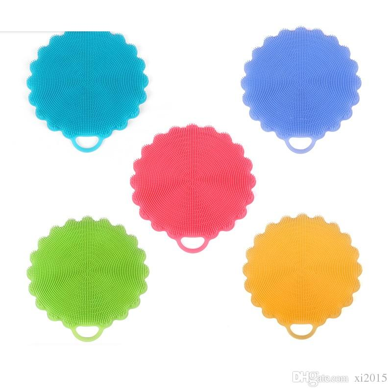 Multi-function Flower Shaped Silicone Sponge Dish Washing Cleaning Brush Kitchen Essential Scrubber Fruit Vegetable Clean Brush