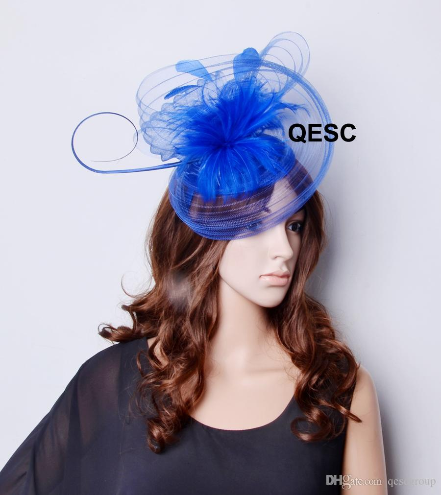 2019 Royal Blue Big Crin Fascinator With Feathers For Kentucky Derby And  Wedding. From Qescgroup 403c5ec4de6