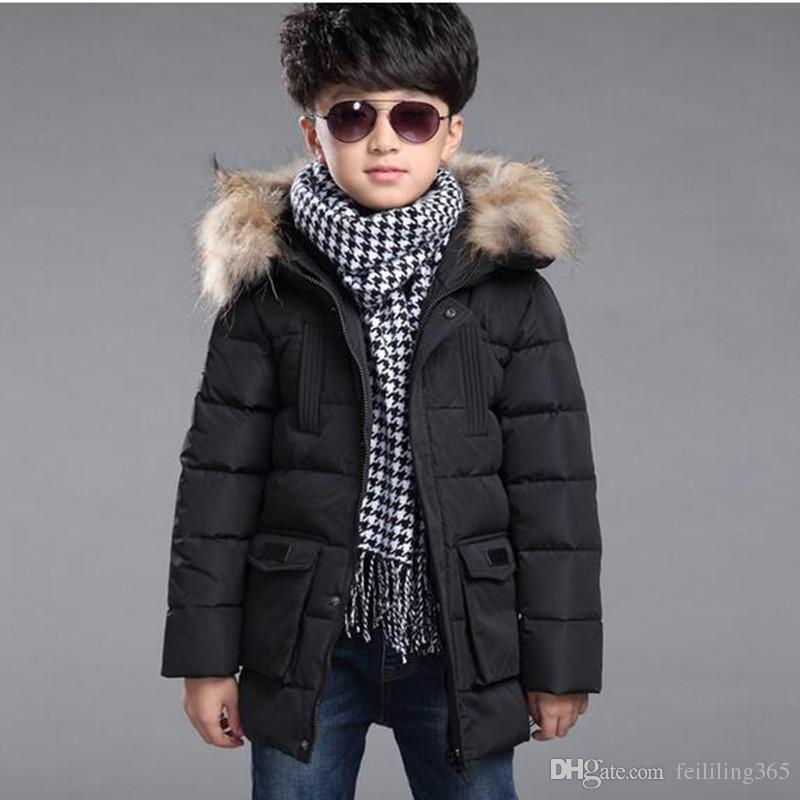 2016 Brand Children'S Real Duck Down Jackets/Coats Parkas Fur Big ...