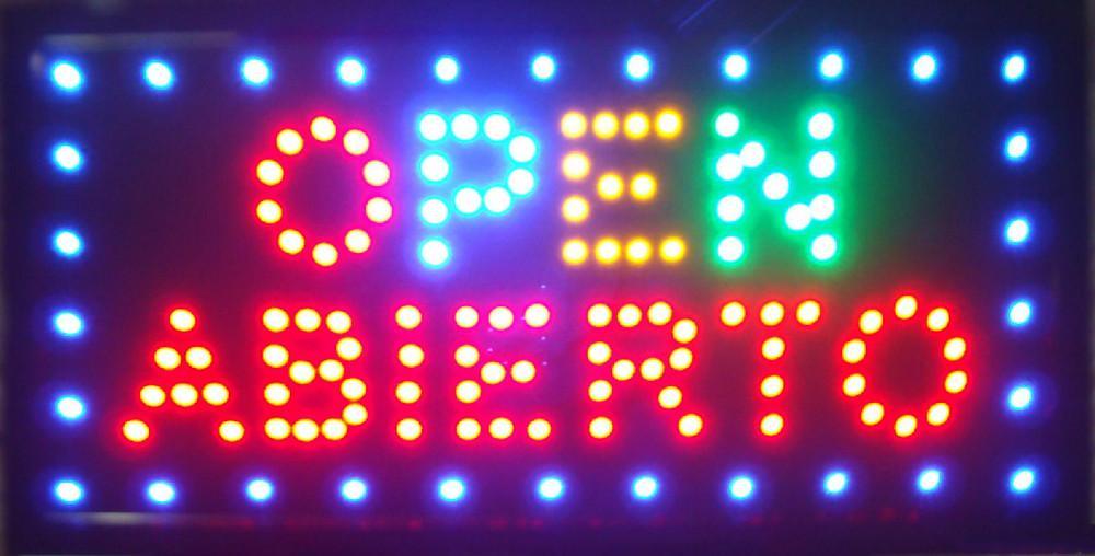 2016 vente chaude customerized LED animés OPEN ABIERTO signe 19x10
