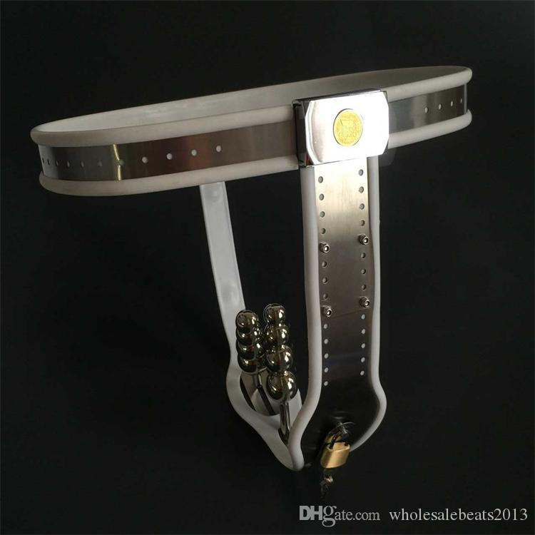 Hot fashion stainless steel female chastity belt,vagina+butt plug,panties with anal plug bondage restraints fetish wear device
