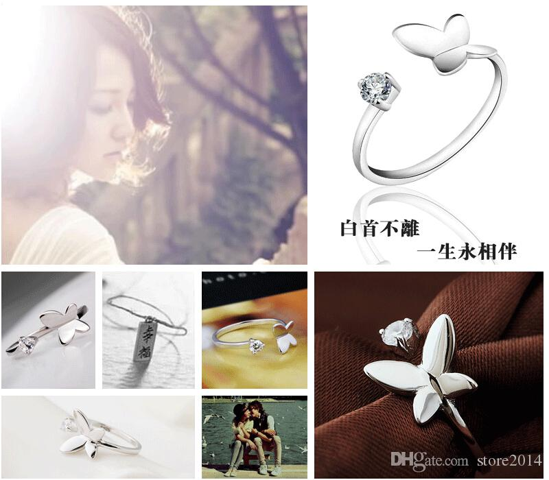 New 925 sterling silver Jewerly Anelli Delfini Dragonfly Ali dell'Angelo Love Fox Butterfly apertura anello regolabile le donne