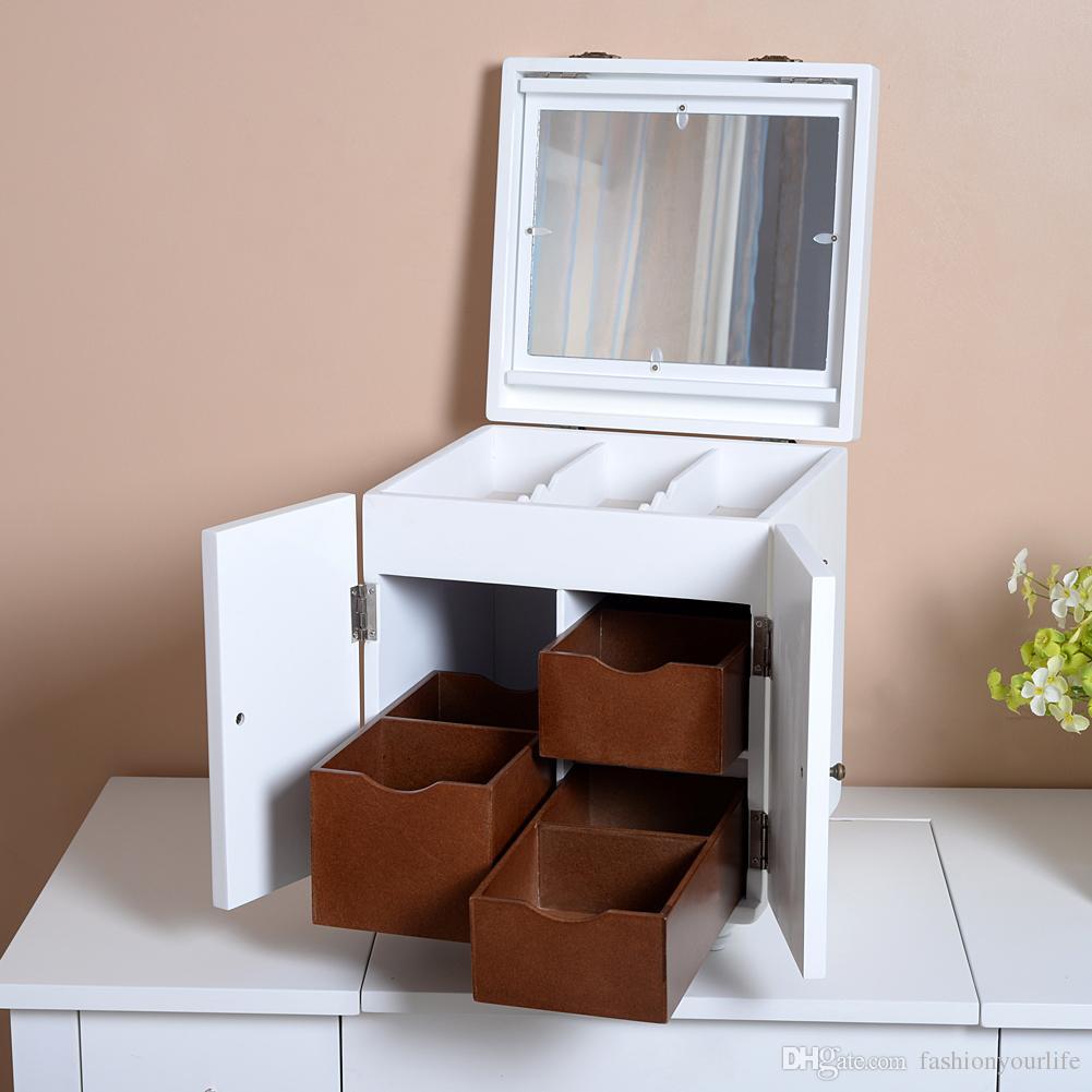 2018 White Wood Makeup Box Jewelry Box Comestic Organize Canbinet