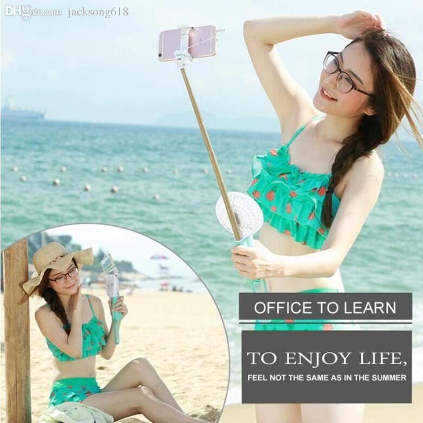Новые селфи палочки с вентилятором телефон камеры Self затвора Power Bank 2200mah батареи 18605 мощность для IPhone Android телефонов оптовые продажи