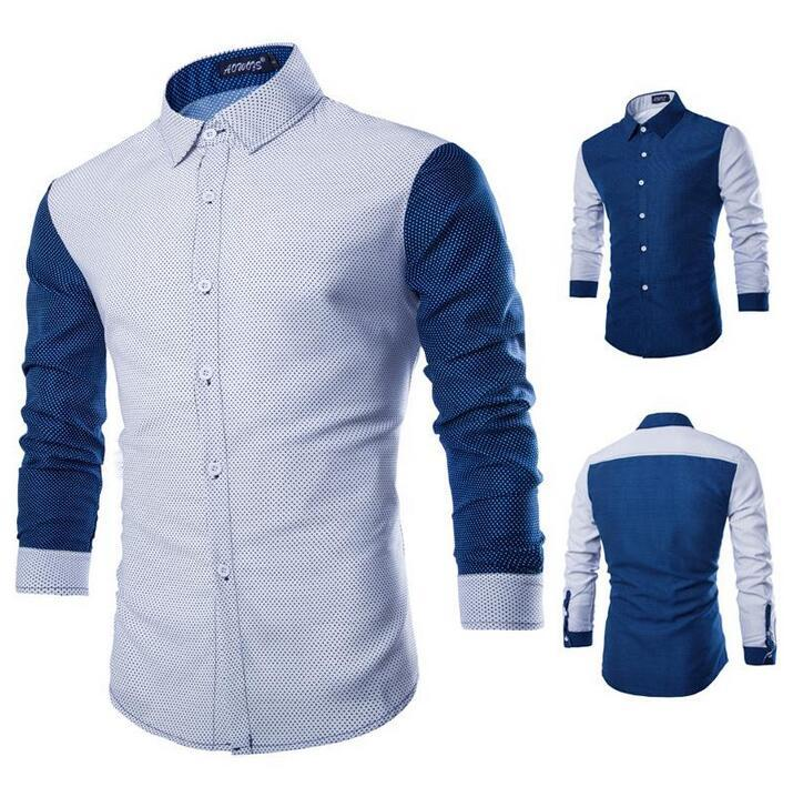 Best Hot Men Shirt Long Sleeve Casual Polka Dot Pattern Shirt Slim ...