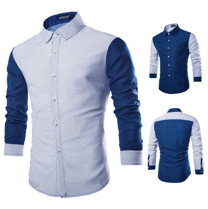 Best Hot Men Shirt Long Sleeve Casual Polka Dot Pattern Shirt Slim ...