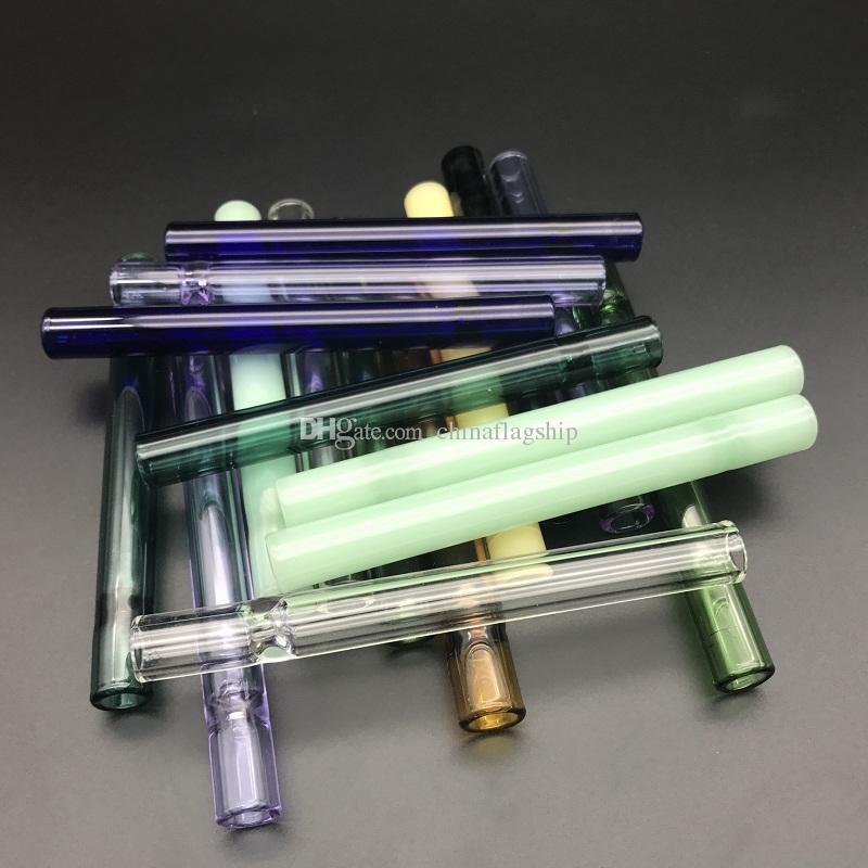 10cm de longueur tube de paille en verre tubes de filtre à cigarettes embouts de filtre en verre épais pipes en verre de pyrex porte-cigarette pas cher en stock