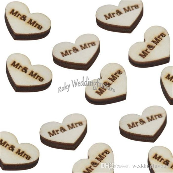 Wooden Heart Mr & Mrs Table Confetti Vintage Affair Rustic Wedding Table Decoration Wedding Party Supplies