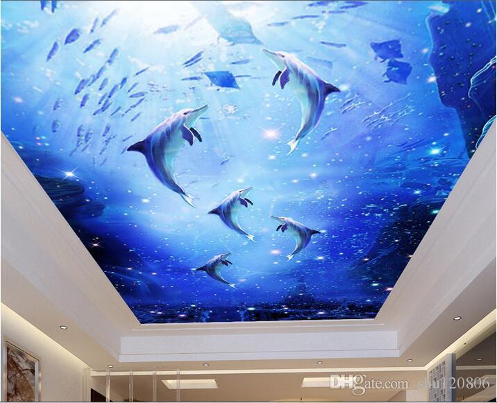 3d обои пользовательские фото нетканые настенные наклейки стены дельфины подводный мир живопись 3d стены комнаты фрески обои