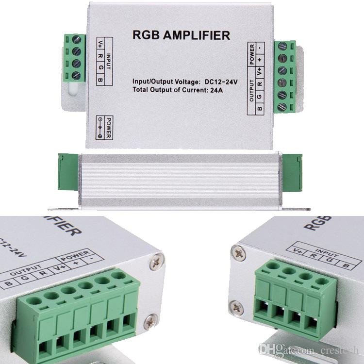 Led RGB Amplifier / PWM Dimmer / RF Controller Input dc 12V 24V 24A MAX for 2835 5050 lights