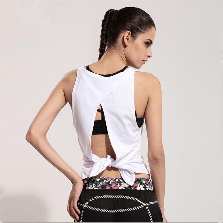 db3fc11f27ce36 2019 Wholesale Women Yoga Shirts Gym Sportswear Sleeveless Sexy Tank Fitness  Twist Back Vest Running Shirt Quick Dry Workout Tops Singlets From  Godefery