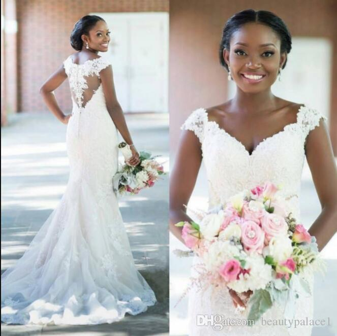South African New Elegant Lace Tulle Wedding Dresses Sexy V Neck