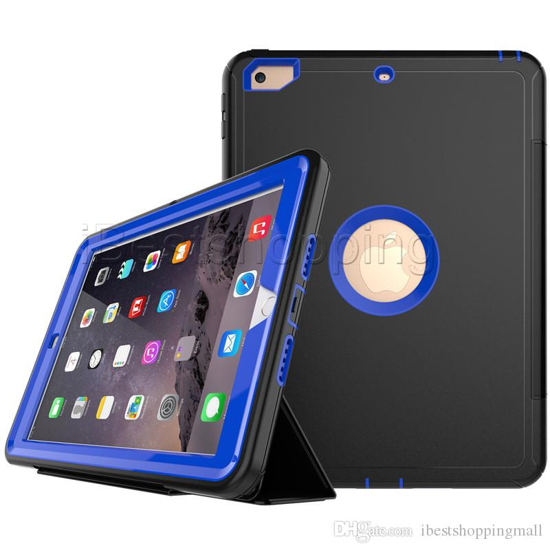 3 in 1 Hybrid Rugged Robot Flip Folding Case Heavy Duty Leather Smart Stand Cover For iPad mini 1/2/3/4 air2 Pro 12.9 10.5 9.7 2018
