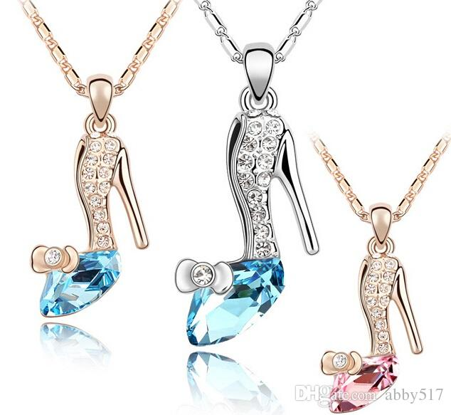 Wholesale gold silver plated cinderella glass slipper necklace see larger image aloadofball Gallery