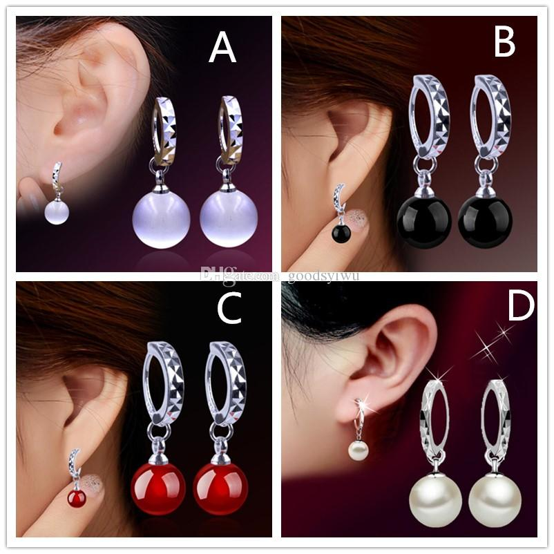 Fashion Red Black Agate White moonstone Opal Stone pendant 925 Sterling Silver stud girl Ear Jewelry Mirror earring for women Wholesale