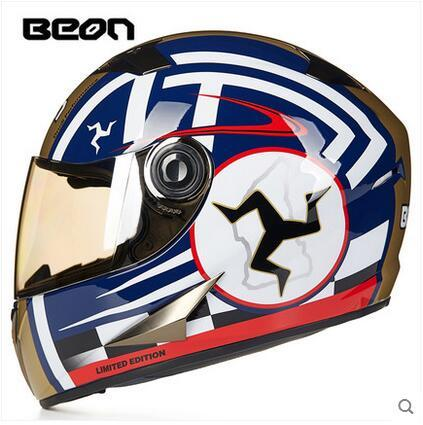 2016 blue gold color BEON B-500 full face motorcycle helmet winter warm security motocross motorbike moto helmets for men/women