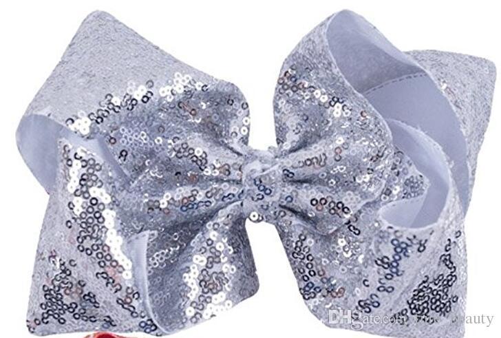 VENDA QUENTE 8 polegadas Bow Cabelo com Lantejoulas Bebê Meninas Grosgrain Boutique Hair Bows Arcos de Jacaré Clipes para Adolescentes Crianças Acessórios Para o Cabelo