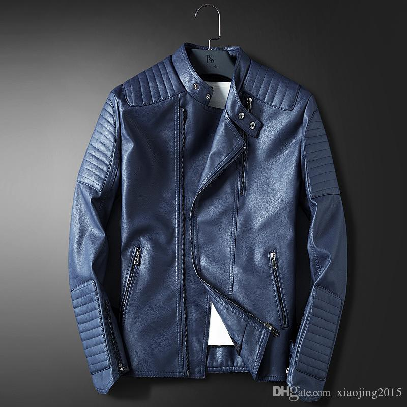 Hot Selling Mens Blue Leather Jackets For Men Slim Fit Red Casual ...
