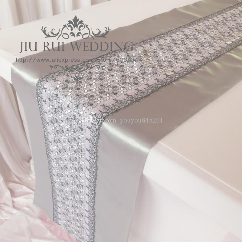 35*250cm Silver Lace Satin Fabric Table Runner For Wedding Use A With Blue Table  Runners Braided Table Runners From Youyou845201, $57.32| Dhgate.Com