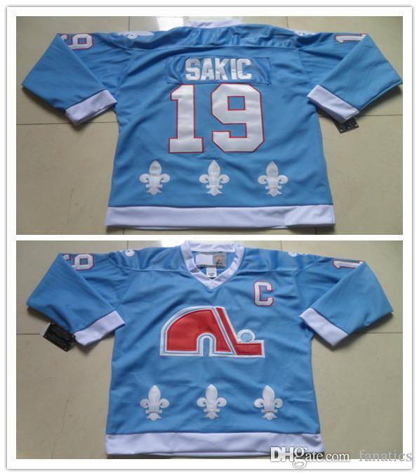 pretty nice 7bb6b b56df 2016 NWT Quebec Nordiques #19 Joe Sakic Jersey Blue C Patch Top Quality  Stitched Quality Joe Sakic Nordiques Jersey Online