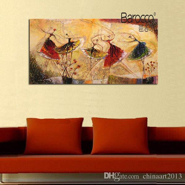 Ballet Dancer Modern Abstract Painting Pure Hand Painted Figures Oil Painting on Canvas Wall Art Decoration for Home