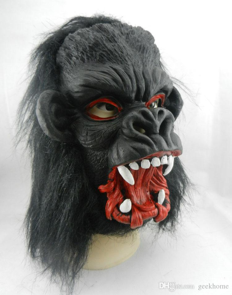 Schwarze Gesichtsmasken der Halloween-Horrormaske Erwachsene klare volle Hauptgesichtsmaske Tierlatex Halloween-Partystützen-Tiersilikon Horror Scary