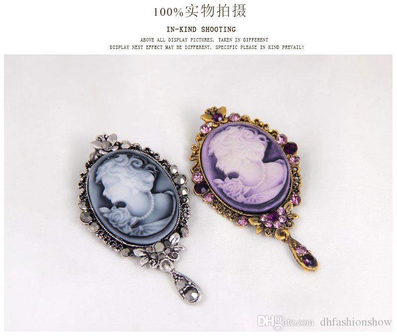 New Designer Beauty Queen Cameo Brooches For Women Crystal Flower Long Rhinestone Brooch Pins Vintage Scarf buckle Jewelry Christmas Gift