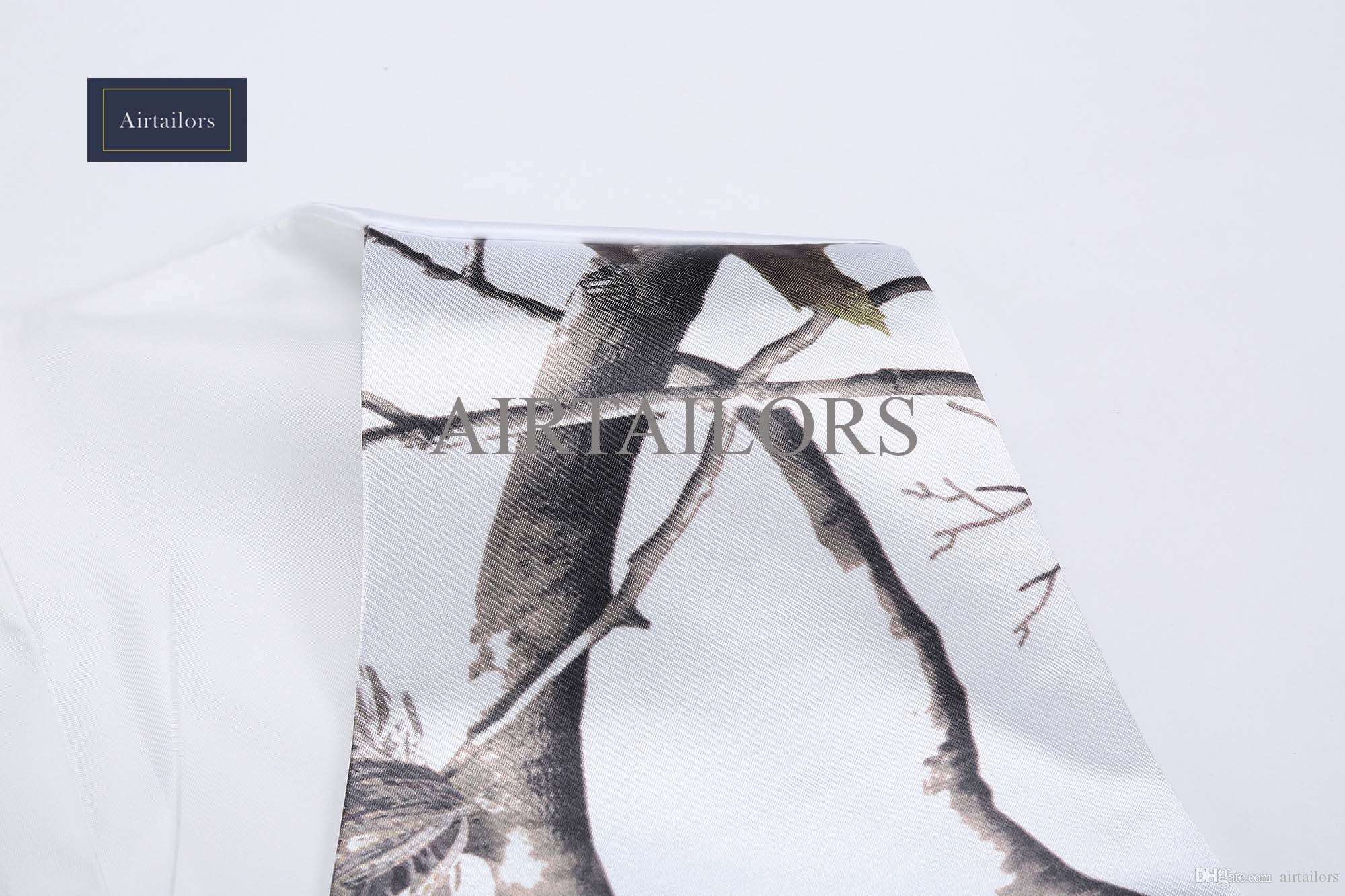 2018 화이트 카모 남자 조끼 위장 남자 정장 조끼 슬림 신랑 조끼 Realtree 카모 아우터 봄 가을 여름 웨딩 조끼 남자 조끼 + 타이