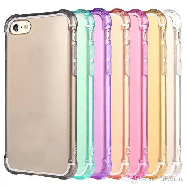 Custodia morbida in TPU anti-shock airbag trasparente iPhone 7 Iphone7 7g 7th I7 Custodia in silicone colorato Deluxe di lusso antiurto 4.7 pollici colorful