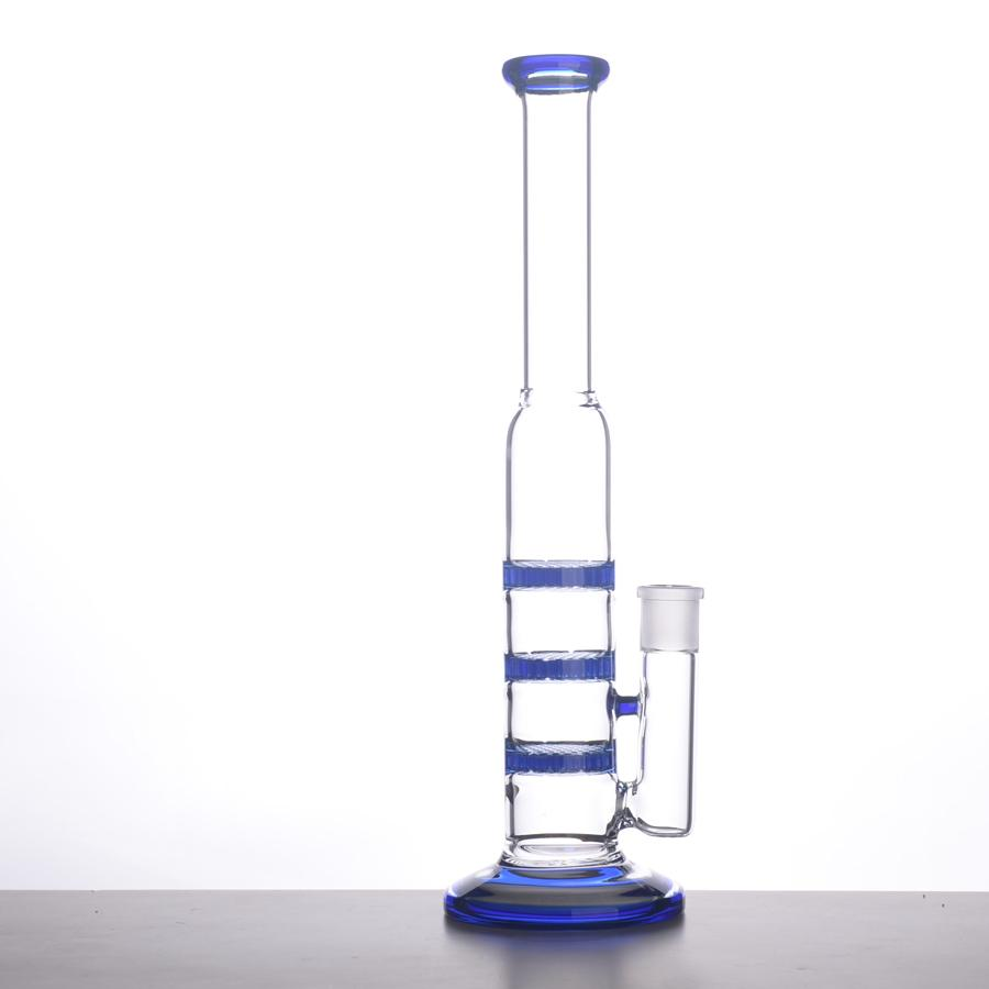 GLASS BONG 38mm Tube 3 Blue Honey Comb Perc Disk Water Pipe Glass Bong With Free Charge Matching Dry Bowl