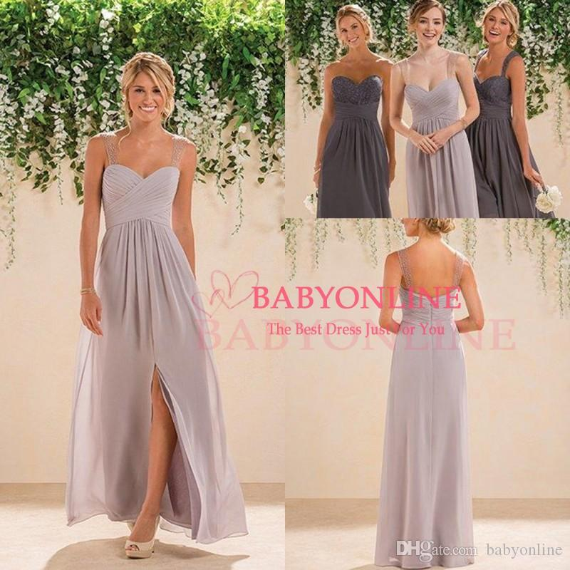 2016 new cheap summer boho bridesmaid dresses with split for Affordable boho wedding dresses