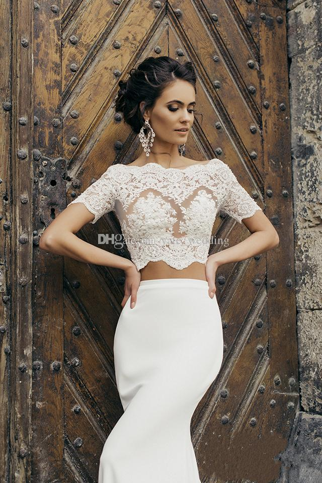 2017 Chic Crop Top Mermaid Wedding Dresses Illusion Bodice Short Sleeves Two Piece Wedding Dresses Satin Vintage Bridal Dresses With Jacket