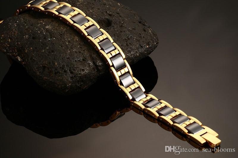 La magie en céramique noire de thérapie magnétique de germanium de bracelet de lien de santé de germanium améliorent la thérapie d'insomnie des bijoux Bracelet B868S