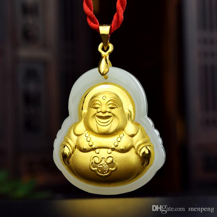 Inset jades 18 k gold pendant natural hetian jade guanyin Buddha necklace pendant with men and women