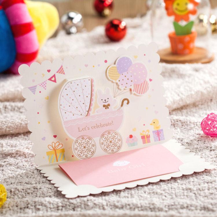 Wholesale 3d BabyS Birthday Invitation Cards Baby Boys Girls – Creative Birthday Invitation