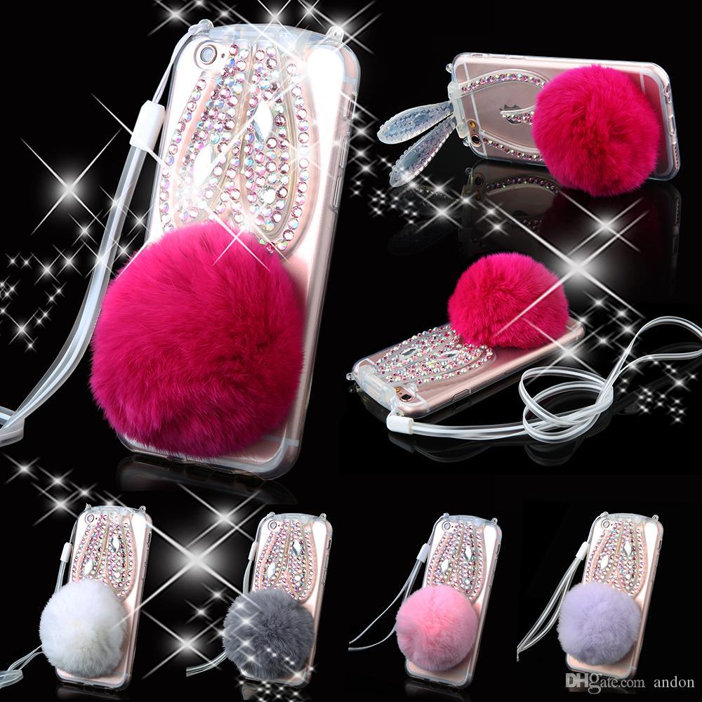 Luxury Bling Crystal Tassel Soft Rabbit Fur Ball Diamond