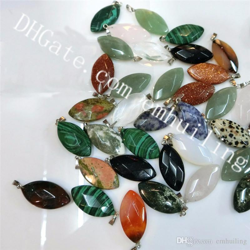 15*30mm Oval Faceted Gemstone Pendant Mixed Random Natural Quartz Crystal Stone Healing Point Chakra Pendant Loose Charms for Jewelry Making