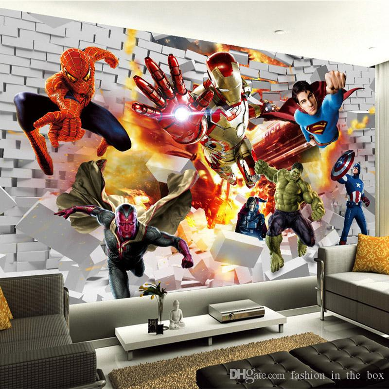Groshandel Avengers Wallpaper D Fototapete Hulk Iron Man Superman Benutzerdefinierte Wandbild Boy Kid Schlafzimmer Bricks Tapete Fur Wande Tv Hintergrund