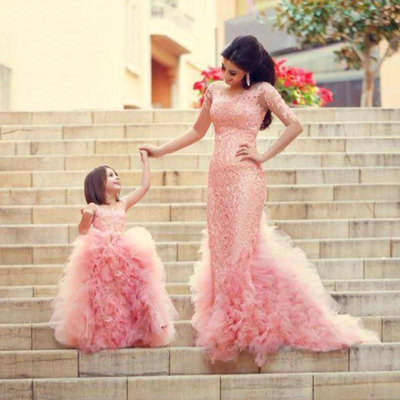 Pink Long Sleeves Mermaid Organza Prom Dresses Hot Crystal Beaded ...