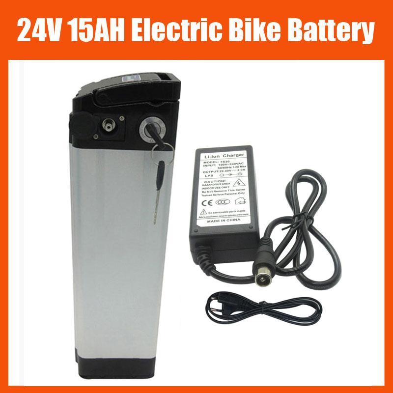 350 W 24 V Lityum Gümüş Balık Aküsü 24 V 15AH Elektrikli Bisiklet Pil Paketi ile 15A BMS 29.4 V 2A Şarj Top Deşarj