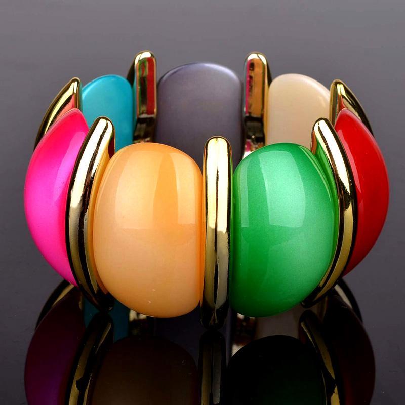 Original New Bohemian Gold Bracelet For Women Elastic Big Acrylic ... a3a63149b1cd