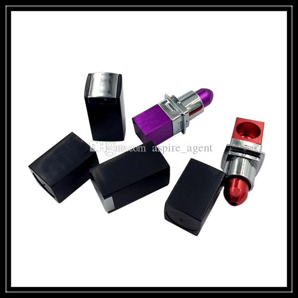 USA Newest Ladies Lipstick Smoking Pipes Mini Metal Hand Smoke Pipe Dry Herbal Vaporizer For Tobacco Smoking Accessories Wholesale