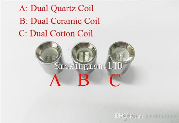 Updated Wax Coils Dual Quartz Coils Dual Ceramic Cotton Coil Head for Metal sleeve Cannon Vase Glass Globe Vaporizer Coil Donut Atomizer